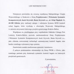 List referencyjny Małopolskiego Urzędu Wojewódzkiego w Krakowie - system kontroli bagażu w Balicach wdrożony