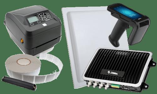 Sprzęt RFID - tagi, czytnik, kolektor danych i drukarka