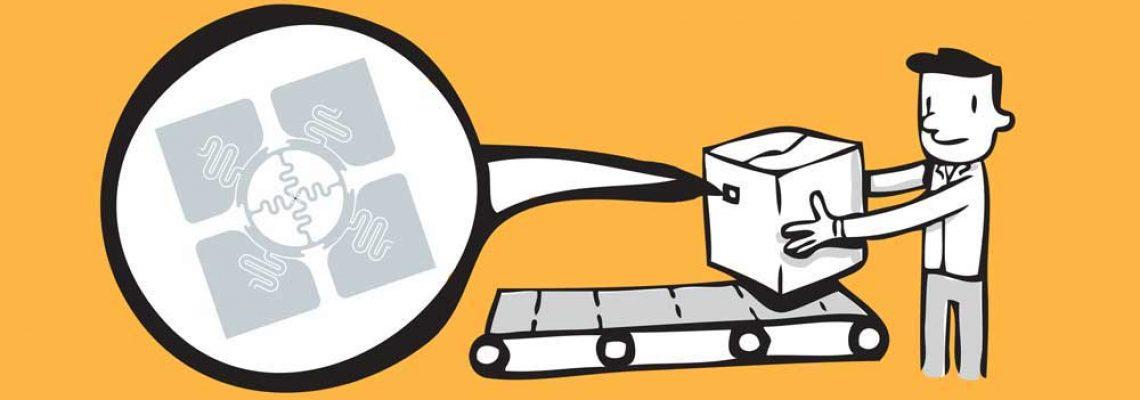 Zobrazowanie zastosowania etykiety RFID na produktach