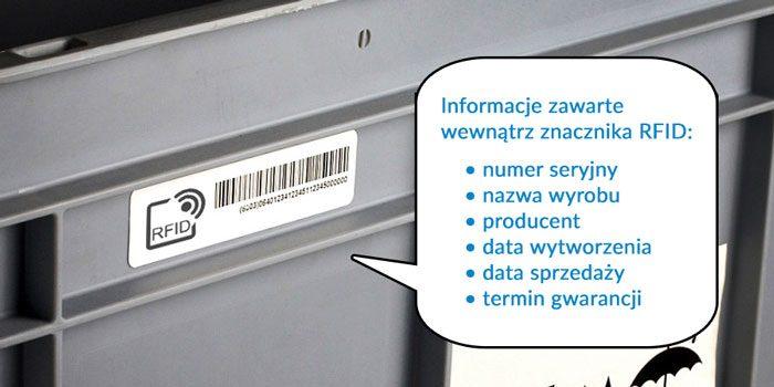 Znakowanie pojemnika asortymentu tagiem rfid uhf