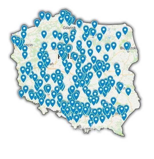 Mapa wdrożeń programu do ewidencji majątkiem