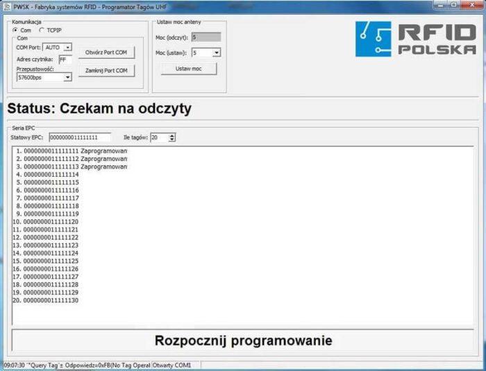 Programator tegów RFID UHF