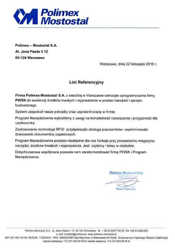 Polimex Mostostal klient PWSK - system Narzędziownia