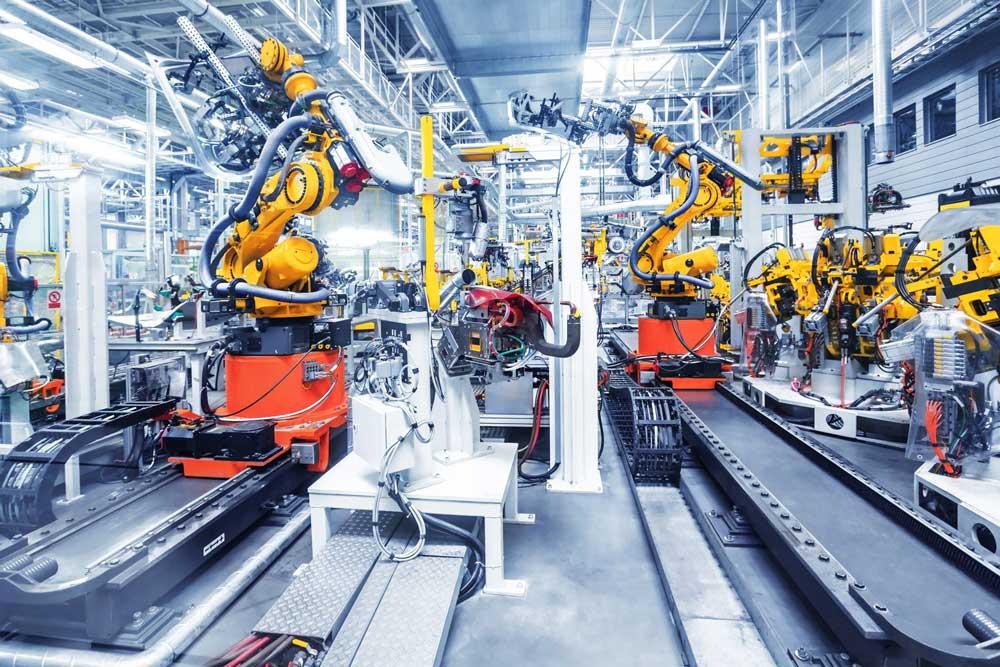 RFID w produkcji - hala produkcyjna z tagami i czytnikami RFID