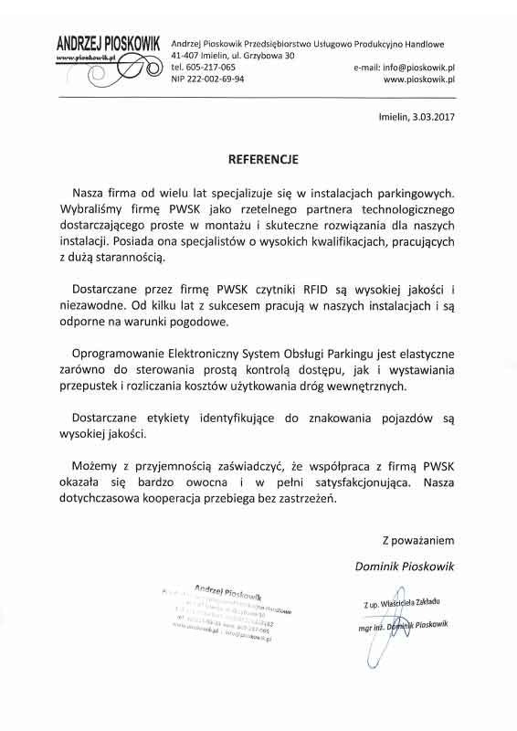 systemy parkingowe pioskowik referencje