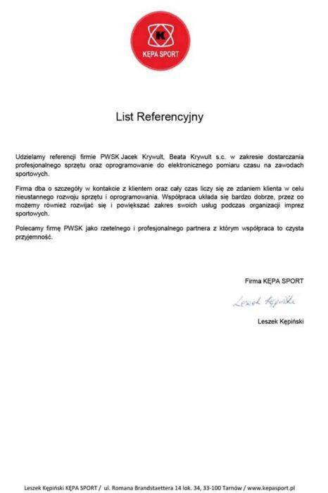 system pomiaru czasu Kępa Sport - referencje